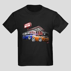 Dodge Challenger Gas Station Scene Kids Dark T-Shi