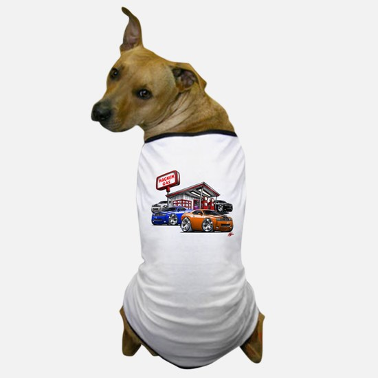 Dodge Challenger Gas Station Scene Dog T-Shirt