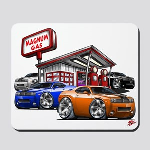Dodge Challenger Gas Station Scene Mousepad