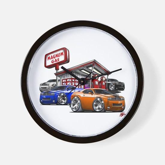 Dodge Challenger Gas Station Scene Wall Clock
