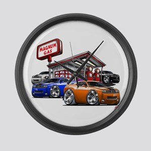 Dodge Challenger Gas Station Scene Large Wall Cloc
