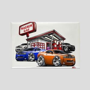 Dodge Challenger Gas Station Scene Rectangle Magne