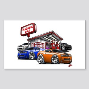 Dodge Challenger Gas Station Scene Sticker (Rectan