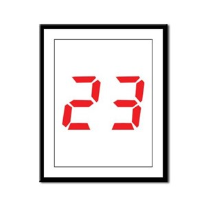 23 twenty-three red alarm clo Framed Panel Print