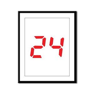 24 twenty-four red alarm cloc Framed Panel Print