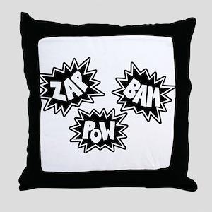 Comic Sound FX - Black & White - Throw Pillow