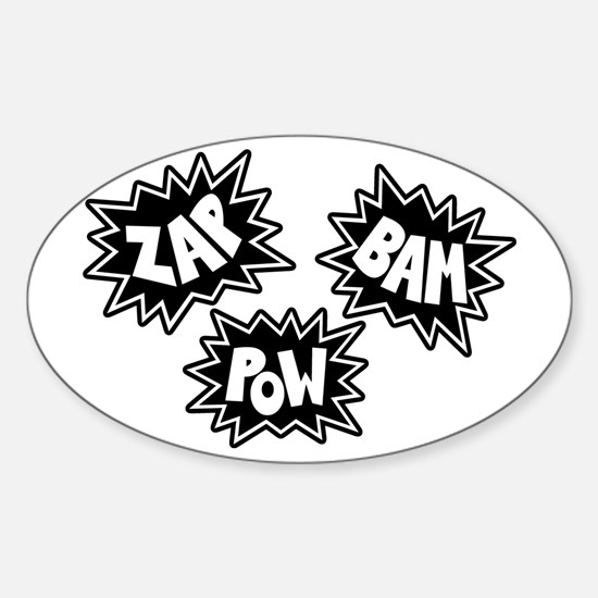 Comic Sound FX - Black & White - Oval Decal