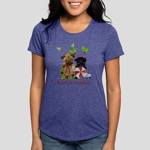 Merry Christmas PUg Womens Tri-blend T-Shirt