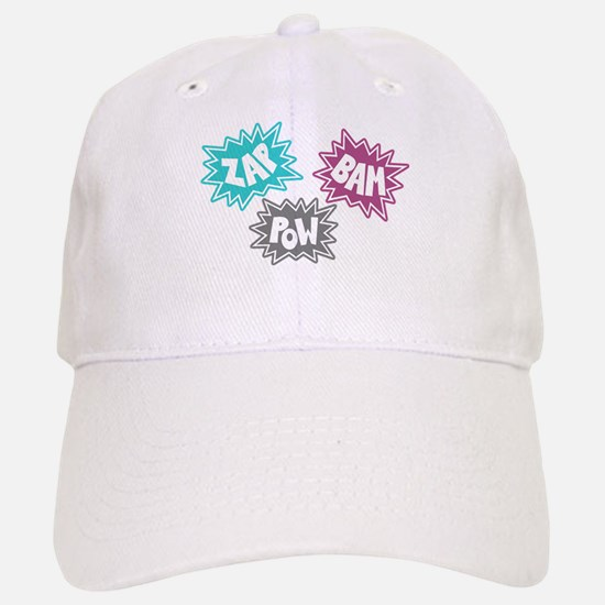 Comic Sound FX - Blue Pink Grey Baseball Baseball Cap