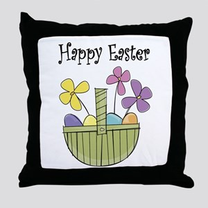 Country Easter basket Throw Pillow