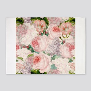 Vintage Roses Lilacs Spring Pattern 5'x7'Area Rug