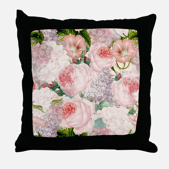 Vintage Roses Lilacs Spring Pattern Throw Pillow