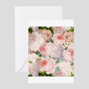 Vintage Roses Lilacs Spring Pattern Greeting Cards