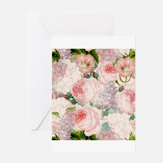 Vintage Roses Lilacs Spring Pattern Greeting Cards