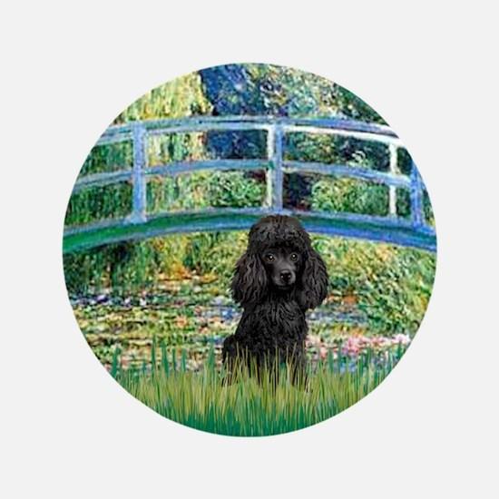 """Bridge / Poodle (Black) 3.5"""" Button"""