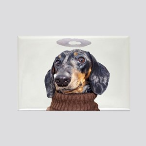 Angel Spotted Doxie Rectangle Magnet