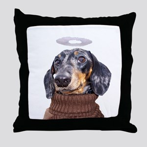 Angel Spotted Doxie Throw Pillow