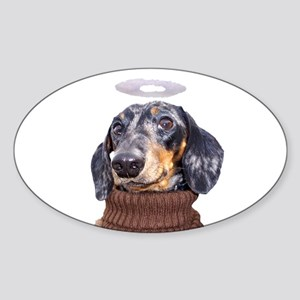Angel Spotted Doxie Oval Sticker