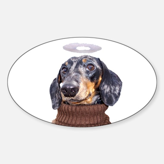 Angel Spotted Doxie Oval Decal