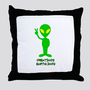 Greetings Earthlings Throw Pillow