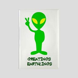 Greetings Earthlings Rectangle Magnet