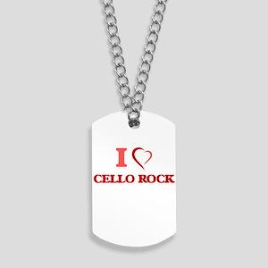 I Love CELLO ROCK Dog Tags