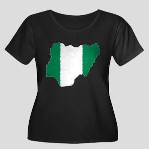 Vintage Nigeria Women's Plus Size Scoop Neck Dark