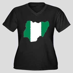 Vintage Nigeria Women's Plus Size V-Neck Dark T-Sh