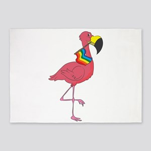 LGBT Flamingo Rainbow Gay Lesbian P 5'x7'Area Rug