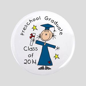 """Girl Pre-K Grad 2014 3.5&Quot; 3.5"""" Button"""