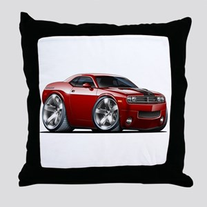 Challenger Maroon Car Throw Pillow