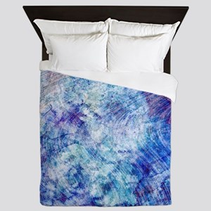 Aqua Blue Marble Watercolor Queen Duvet