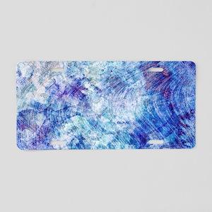 Aqua Blue Marble Watercolor Aluminum License Plate