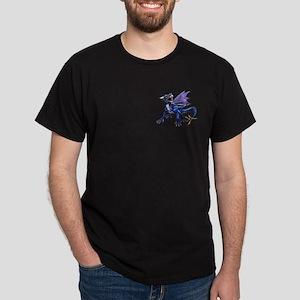 Blue Dragon At Night Black T-Shirt