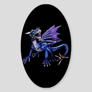 Blue Dragon At Night Oval Sticker
