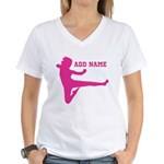 Personalized Karate Girl Women's V-Neck T-Shirt