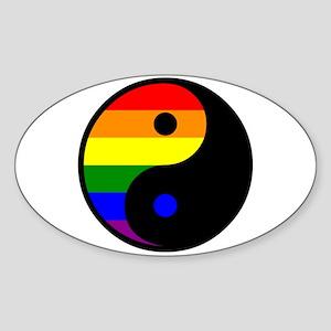 Yin Yang Rainbow Oval Sticker