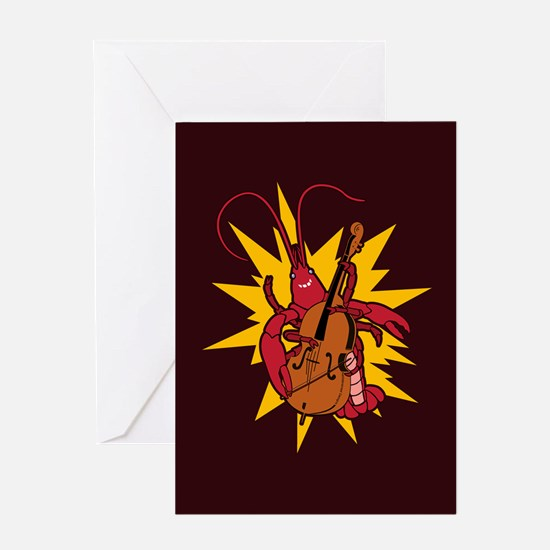 Crawfish Upright Bassist Greeting Card