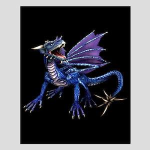 Blue Dragon At Night Small Poster
