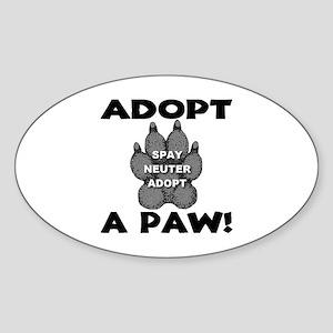 Adopt A Paw: Spay! Neuter! Ad Oval Sticker