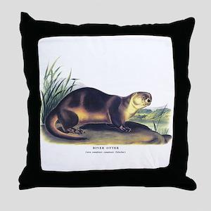 Audubon River Otter Animal Throw Pillow