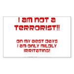 I am NOT a terrorist! Rectangle Sticker 50 pk)