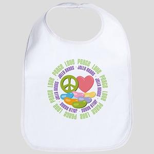 Peace Love Jelly Beans Bib