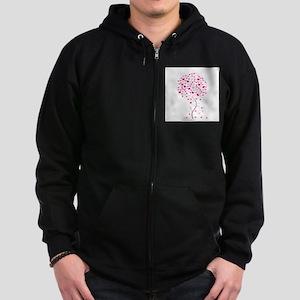 Pink Ribbon Tree - Tree of Ho Zip Hoodie (dark)