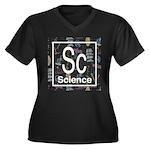 Science Retro Women's Plus Size V-Neck Dark T-Shir