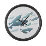 Beluga Whales Art Large Wall Clock & Wildlife