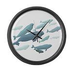 Beluga Whales Art Large Wall Clock & Wildlife