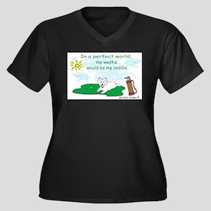 westie Women's Plus Size V-Neck Dark T-Shirt