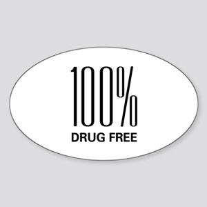 100 Percent Drug Free Oval Sticker