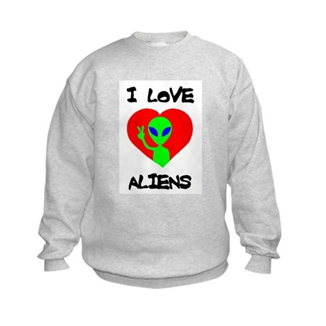 I Love Aliens Kids Sweatshirt